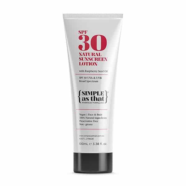 Natural sunscreen lotion